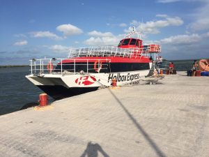 "The ""Red"" ferry boat to Holbox."